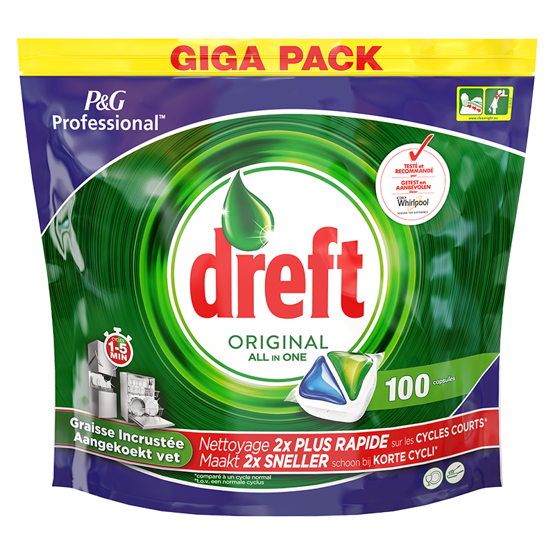 Dreft Professional All In One Original Vaatwastabletten 100 Capsules